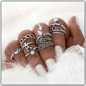 🆕 10 piece boho punk chic midi knuckle ring set